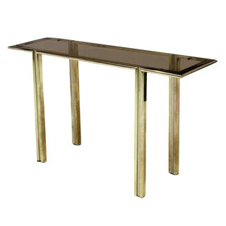 Mid Century Modern Italian Brass, Chrome, Steel & Glass Console Attributed to Willy Rizzo