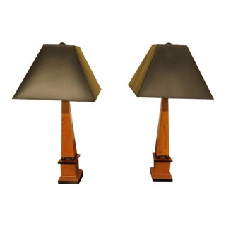 Hickory White Co French Empire Obelisk Table Lamps - A Pair For Sale