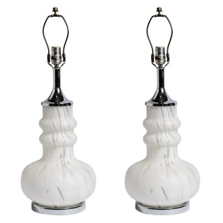 Italian Murano Glass Mottled White & Clear Lamps, a Pair For Sale