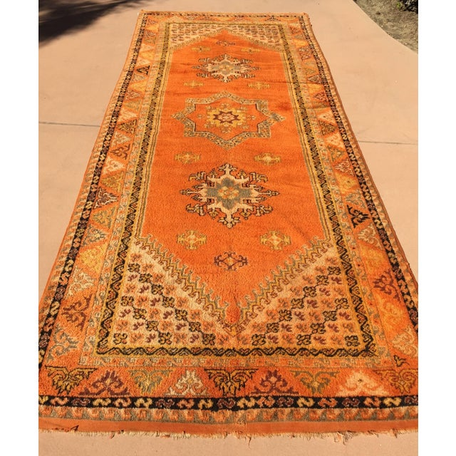 Vintage Mid Century Moroccan Orange Tribal African Pile Rug- 6′7″ × 16′5″ For Sale In Los Angeles - Image 6 of 12