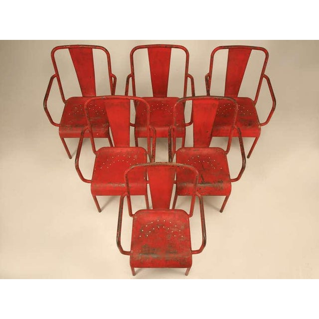 Metal French Mid-Century Industrial Steel Table and Chairs - 7 pieces For Sale - Image 7 of 12