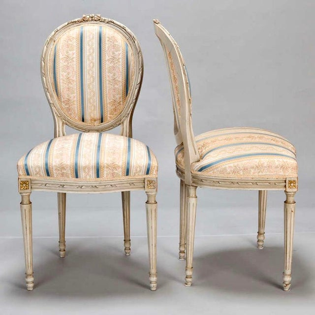 French Set of 8 French Louis XVI Cameo Back Dining Chairs With New Upholstery For Sale - Image 3 of 7