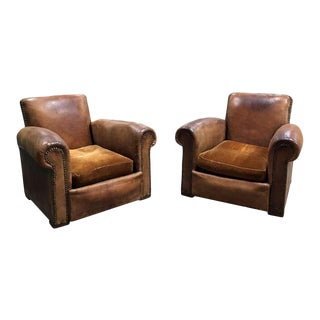 Vintage Leather Club Chairs - a Pair For Sale