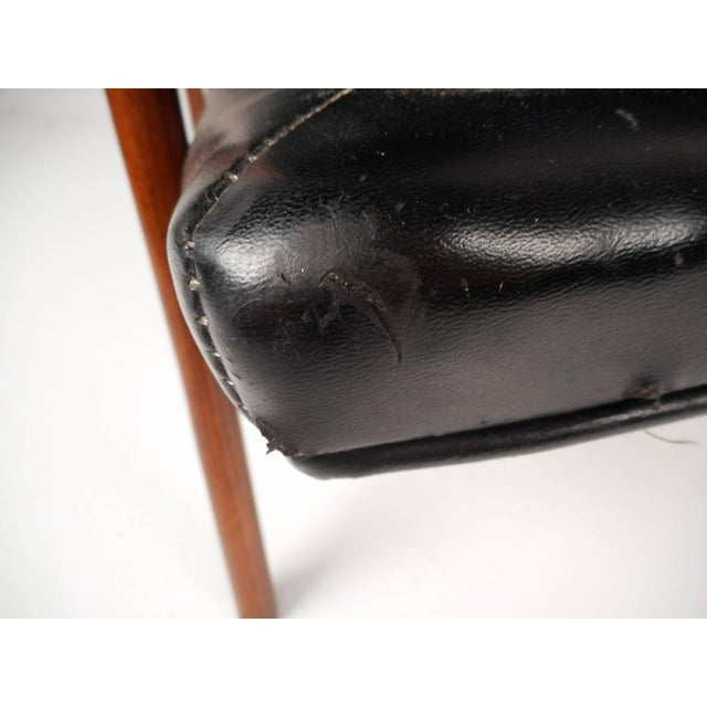 Mid-Century Modern Tufted Vinyl Lounge Chair and Ottoman - Image 10 of 10