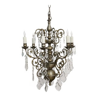 French Nickel on Bronze Chandelier With Crystals. For Sale