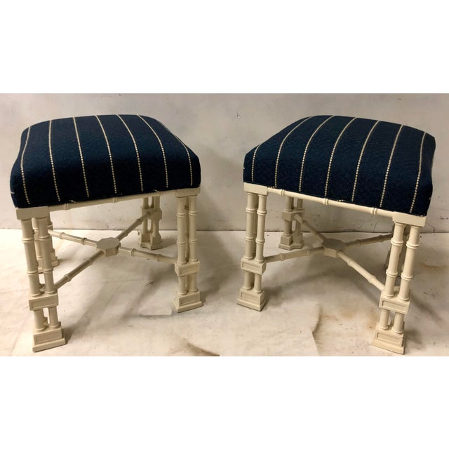 Erwin Lambeth Pair Erwin Lambeth Chippendale Style Ottomans For Sale - Image 4 of 9