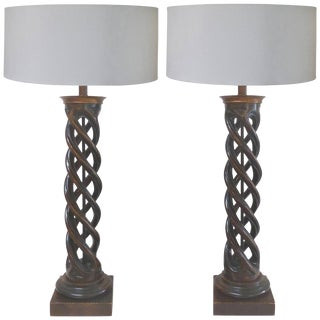 Spiral Column Carved Wood Table Lamps by James Mont for Frederick Cooper - a Pair For Sale