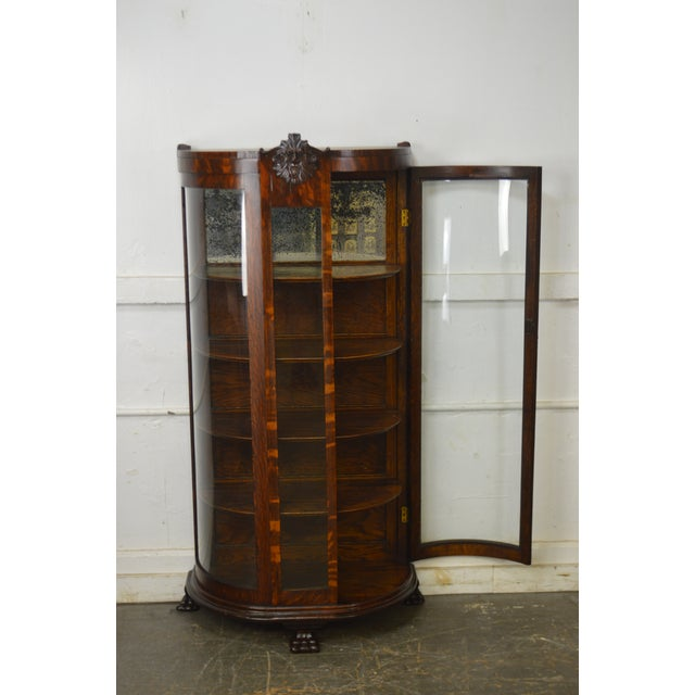 Mid 19th Century Unusual Antique Oak Bow Glass Small Victorian China Cabinet For Sale - Image 5 of 13
