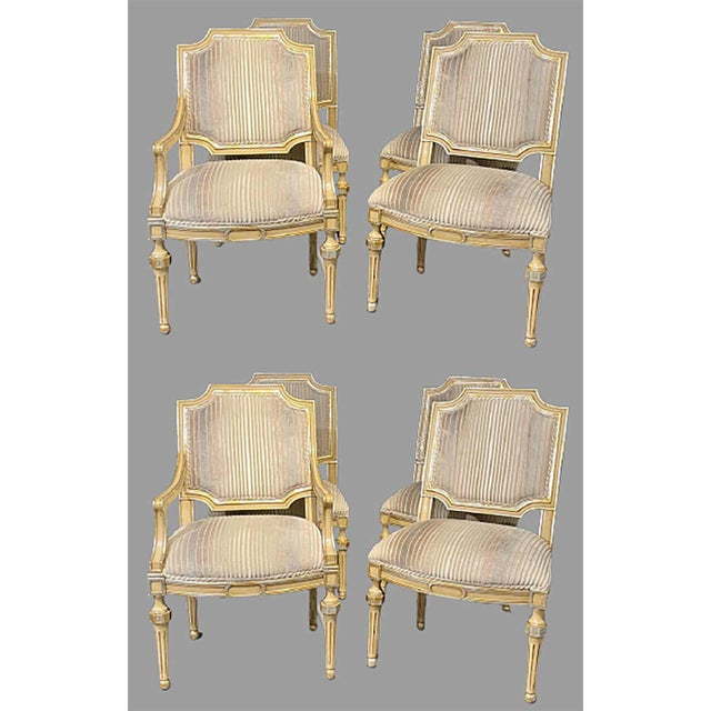 French Set of Eight Louis XVI Style Dining Chairs Painted and Parcel-Gilt, Jansen Style For Sale - Image 3 of 13