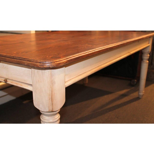 Wood Fantastic 20th Century Handmade and White Painted Base Harvest Table For Sale - Image 7 of 8