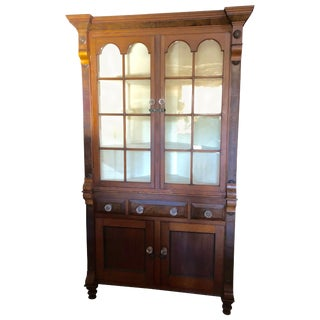 Classic Vintage Mahogany Corner Cabinet With Original Glass Doors For Sale