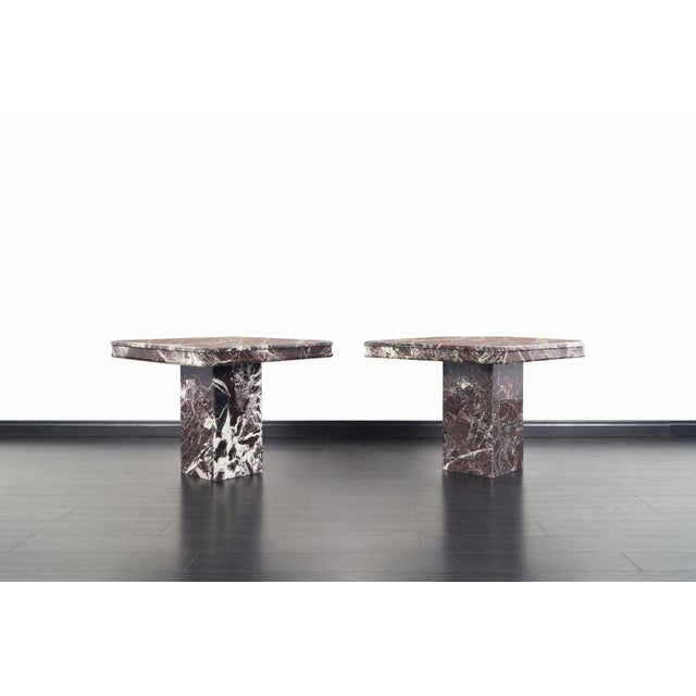 """Pair of beautiful vintage marble side tables or end tables, circa 1980s. Comes with original """" Made in Italy"""" tag."""