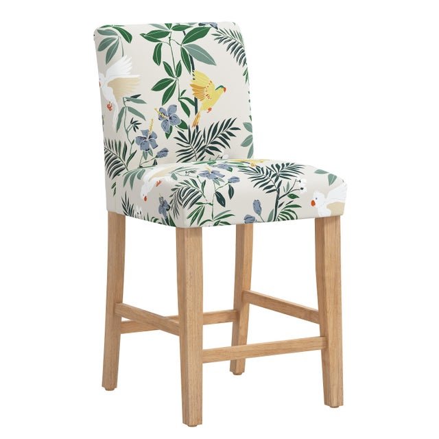 Cream Counter Stool in Belize Chinoiserie Cream For Sale - Image 8 of 8