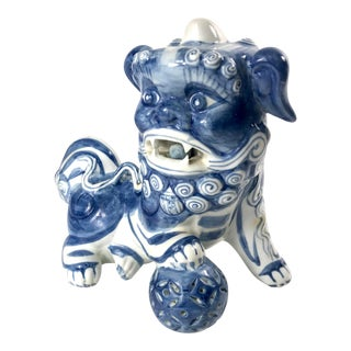 Handprinted Blue and White Chinese Porcelain Foo Dog Guardian Figurine For Sale