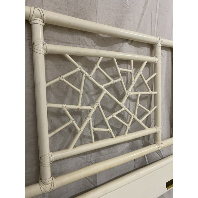 """Vintage McGuire Full Size """"Cracked Ice"""" Rattan Headboard For Sale In Tampa - Image 6 of 10"""