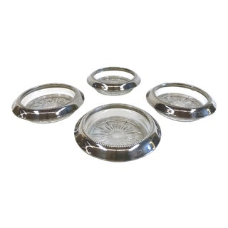Sterling Rim and Glass Coasters - Set 4