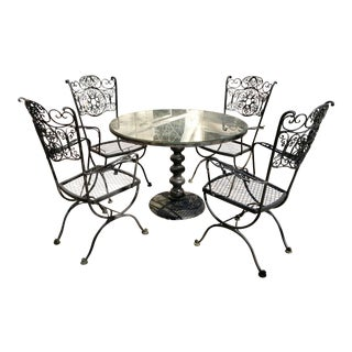 Mid-Century Modern Woodard Andalusian Black Wrought Iron Outdoor Patio Dining Set - 5 Pieces For Sale