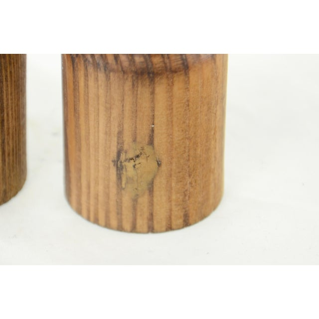 Mid 20th Century Rustic Turned Wood Salt & Pepper Shakers For Sale - Image 5 of 6