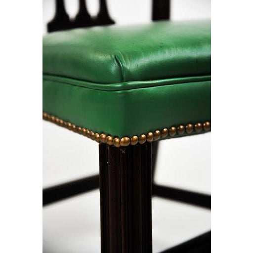 Green Vinyl Upholstered Chippendale Dining Chairs - Set of 6 - Image 8 of 10