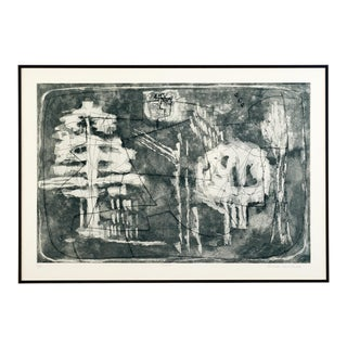 Mid 20th C. Vintage Poetic Black and Grey Abstract Etching By Louise Nevelson For Sale
