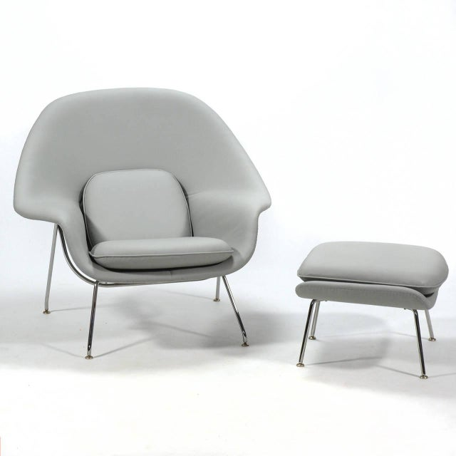 Eero Saarinen Womb Chair and Ottoman in Leather by Knoll - Image 4 of 11