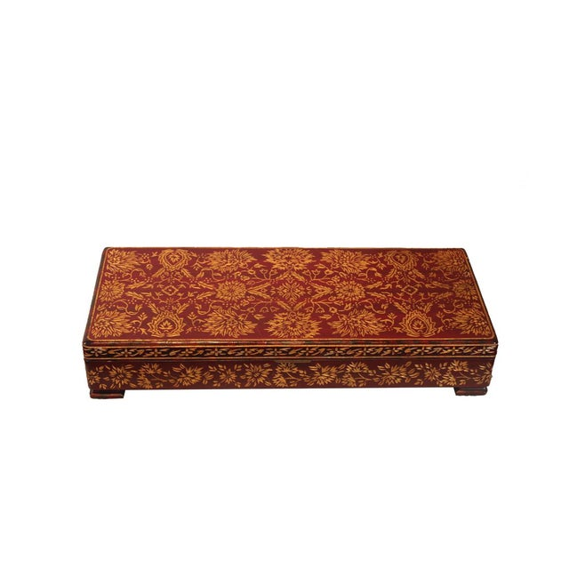 French Box Style Wood With Design For Sale - Image 4 of 4