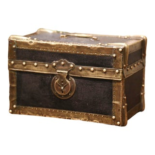 Mid-19th Century French Louis XIII Brass and Leather Decorative Box Trunk Safe For Sale