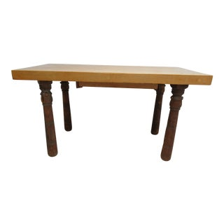 Antique Industrial Bar Counter Height Butcher Block Center / Dining Table For Sale