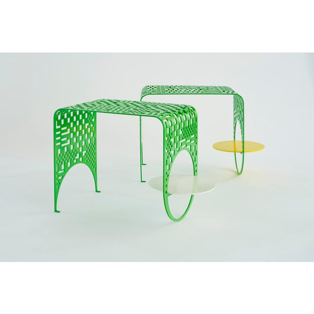 Contemporary Contemporary Thin Check Table in Powder Coated Steel in White, Yellow, and Green For Sale - Image 3 of 4