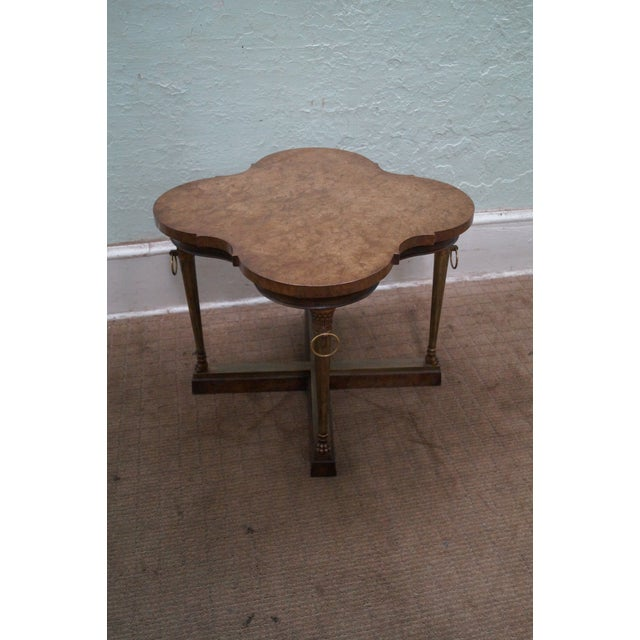Country Mastercraft Vintage Burl Wood & Brass Side Table For Sale - Image 3 of 10