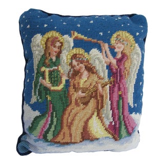 Needlepoint Pillow of 3 Angels