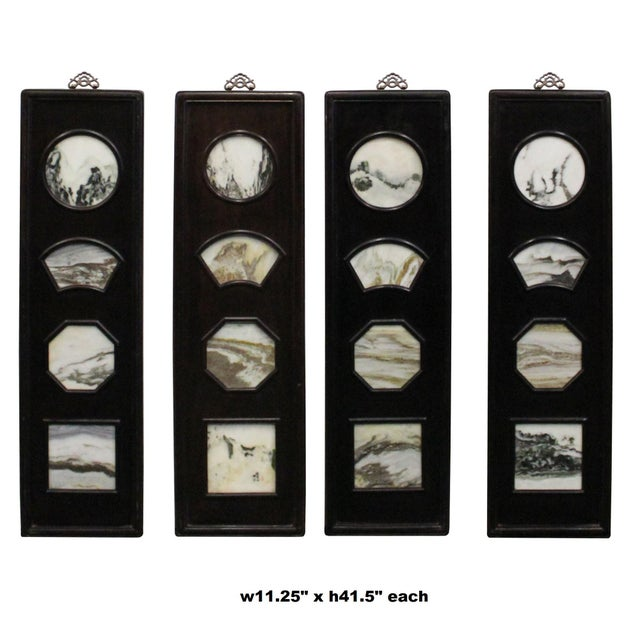 This is a set of 4 pieces dream stone scenery art with wooden frame. It is a traditional Chinese wall decoration accent...