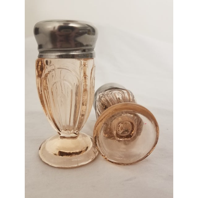 Art Deco Vintage Art Deco Pressed Pink Glass Footed Salt and Pepper Shakers - a Pair For Sale - Image 3 of 8