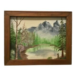 Vintage Framed Oil Landscape Painting on Canvas
