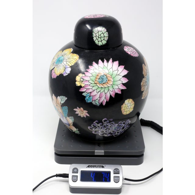 Black Hand-Painted Melon Jar With Flowers For Sale - Image 10 of 11