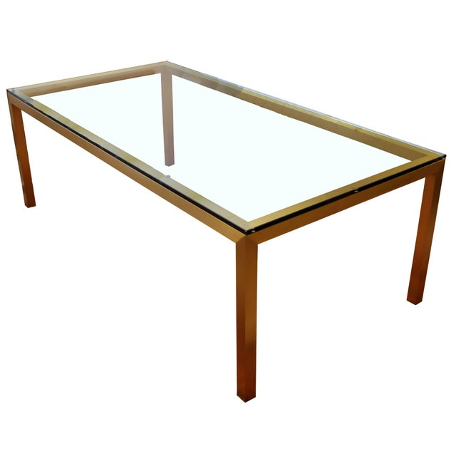 Bronze Vintage Mid-Century Modern Bronze Brass & Glass Rectangular Dining Table Brueton For Sale - Image 7 of 7