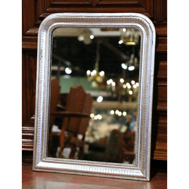 Late 19th Century 19th Century French Louis Philippe Silver Leaf Mirror With Engraved Stripe Decor For Sale - Image 5 of 7