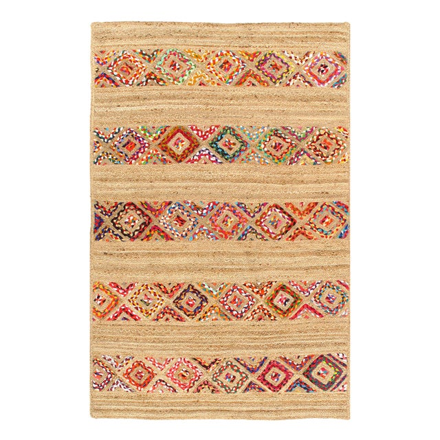Pasargad Fine Handmade Braided Cotton & Organic Jute Rug - 4' X 6' For Sale