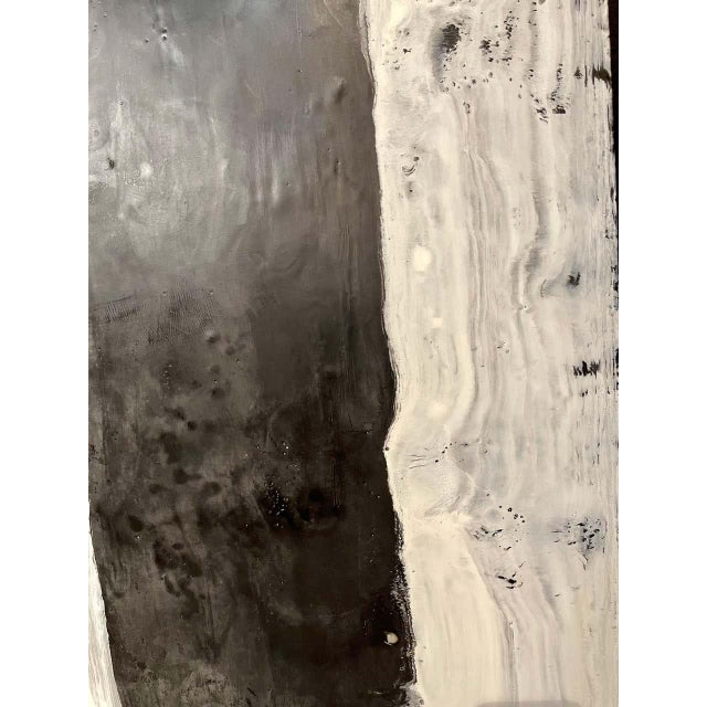 "Lynn Basa Encaustic Black and White Stripe Panel ""Camino"", 2018 For Sale In New York - Image 6 of 11"