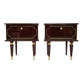 Pair of Vintage Mid Century French Bedside Tables Night Cabinets Nightstands For Sale