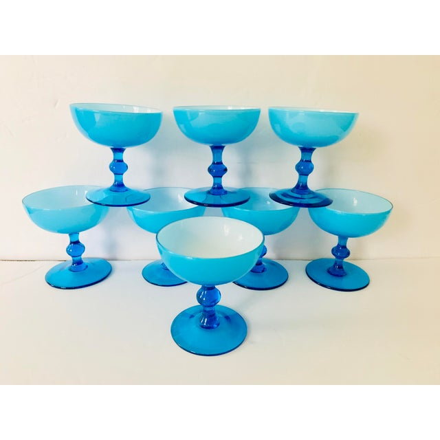 Vintage Carlo Moretti Turquoise Cased Glass Coupes - Set of 8 For Sale - Image 10 of 11