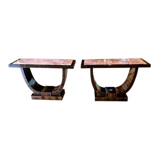 1930s Art Deco Macassar Alfred Porteneuve Ebony Console Tables - a Pair For Sale