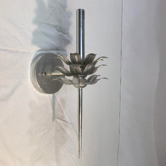 Worlds Away Delilah Silver Leaf One Arm Wall Sconce For Sale In Washington DC - Image 6 of 11