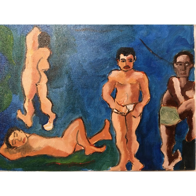 """""""The Bath House"""" Original Vintage Oil on Canvas Painting For Sale - Image 4 of 10"""