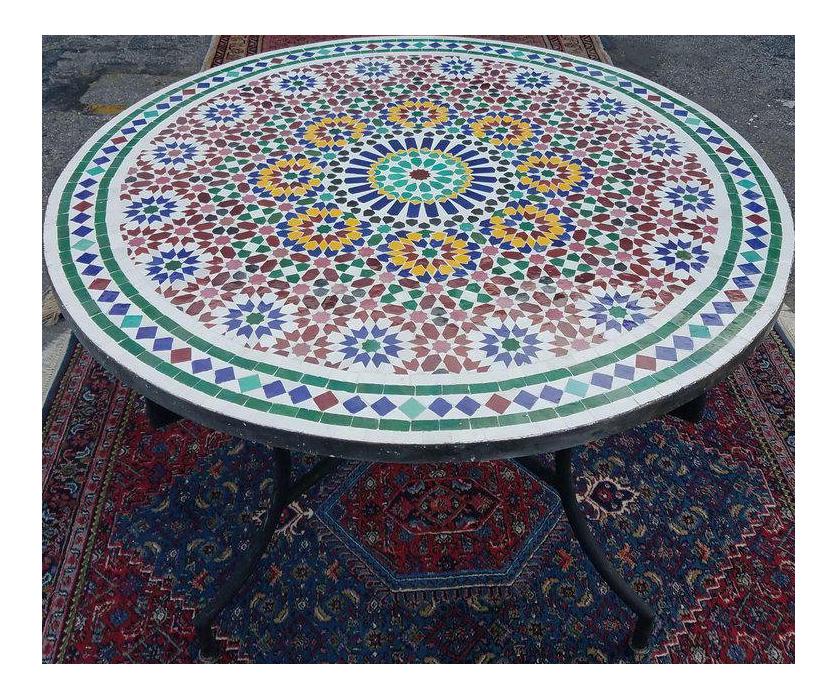 moroccan multi color mosaic coffee table chairish rh chairish com mosaic coffee table outdoor mosaic coffee table diy