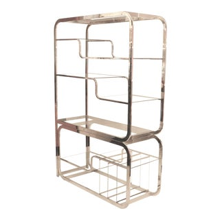DIA Mid-Century Chrome ´Etagère With Glass Shelves For Sale