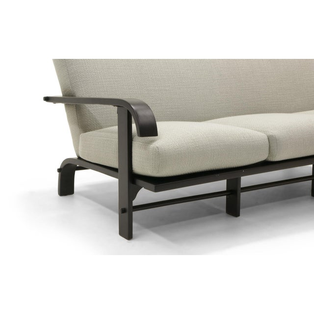 1950s Three-Seat Sofa by Russell Wright, Black Frame and Light Grey-Silver Fabric For Sale - Image 5 of 9