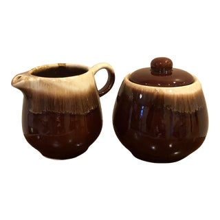 Mid 20th Century Vintage McCoy Brown Drip Creamer and Sugar Bowl - a Pair For Sale