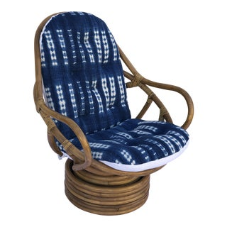 Mid-Century Bamboo Swivel Barrel Chair For Sale
