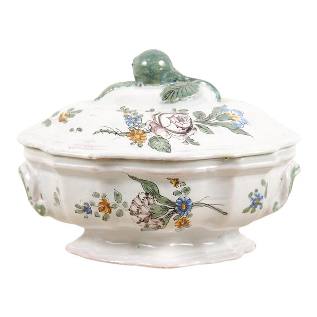 1750s Mid 18th Century French Faience Soup Tureen For Sale